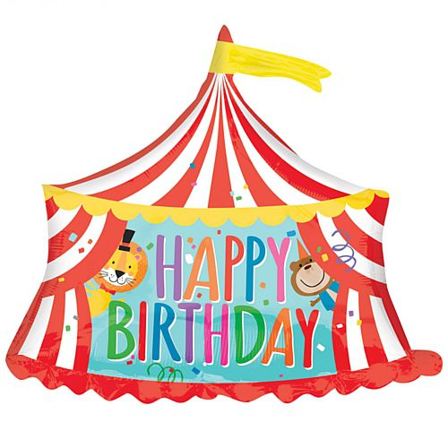 Circus Tent 'Happy Birthday' Supershape Foil Balloon - 28""