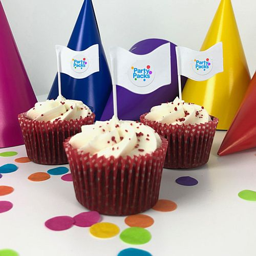 Personalised Image Cake Flag Pick Kit - Pack of 24