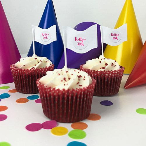 Personalised Text Cake Flag Pick Kit - Pack of 24