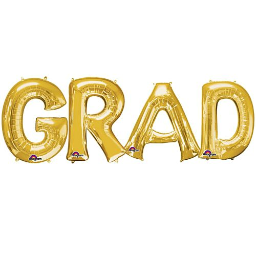 GRAD Gold Foil Letter Balloon Pack - 40cm