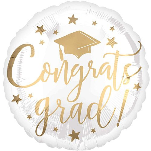 Congrats Grad White and Gold Foil Balloon - 18""
