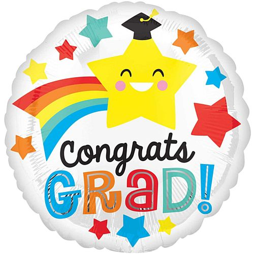 Congrats Grad Happy Star Foil Balloon - 18""