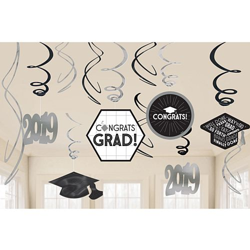 2019 Graduate Swirl Decorations - Pack of 12