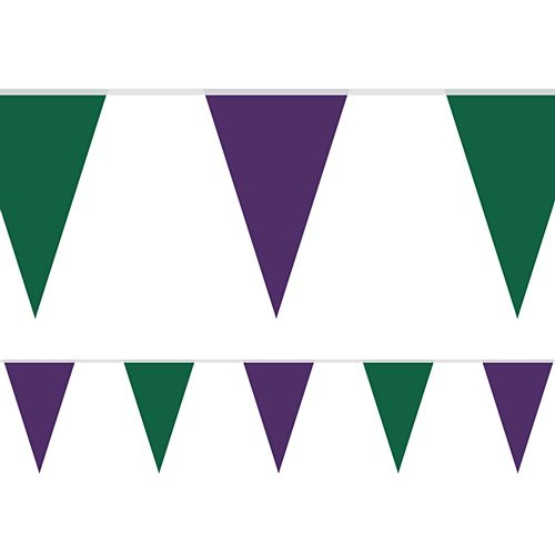 Wimbledon Green and Purple Fabric Pennant Bunting - 24 Flags - 8m