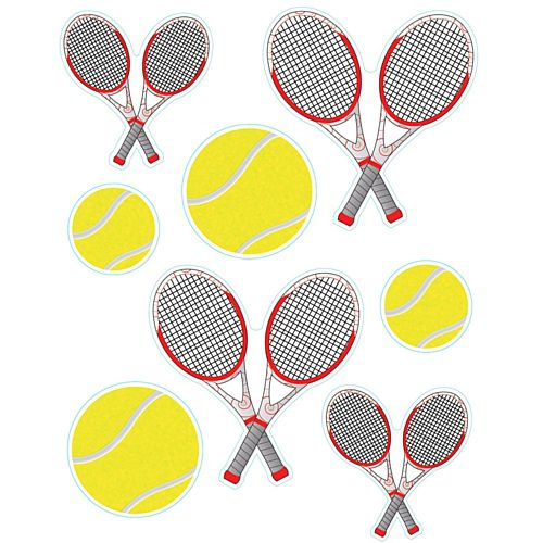 Tennis Balls and Racquets Vinyl Wall Decorations - 43cm - Sheet of 8