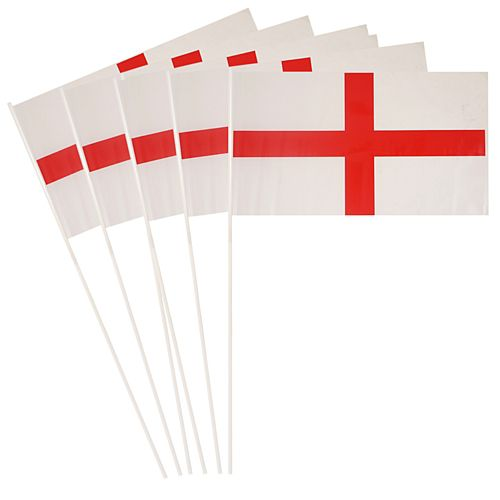 "England St. George's Cross Plastic Hand Waving Flag - 11"" x 7"" - Pack of 100"