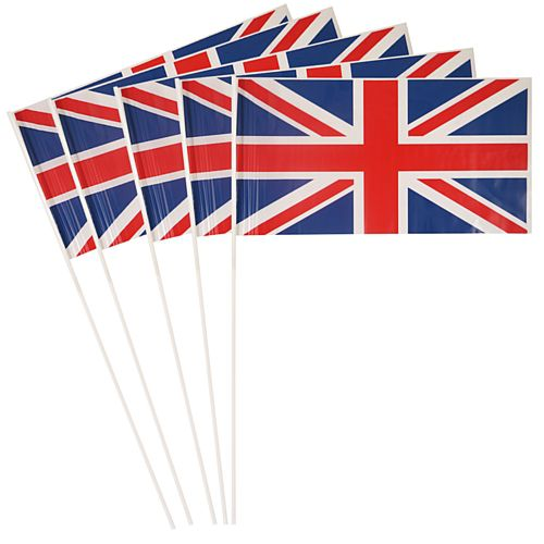 British Union Jack Plastic Hand Waving Flag Budget - - 28cm x 18cm - Pack of 100