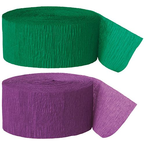 Green and Purple Crepe Streamer - 25m - Set of 2