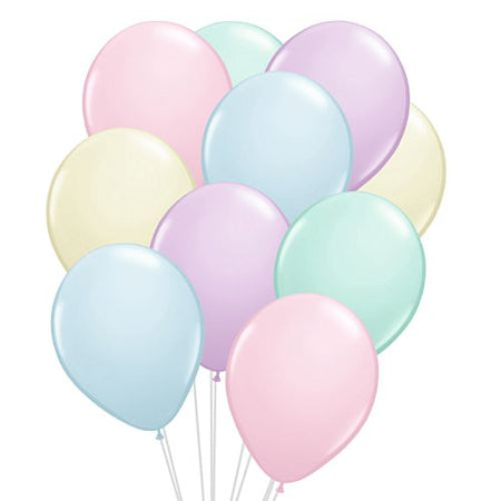 Assorted Colour Pastel Latex Balloons - 12