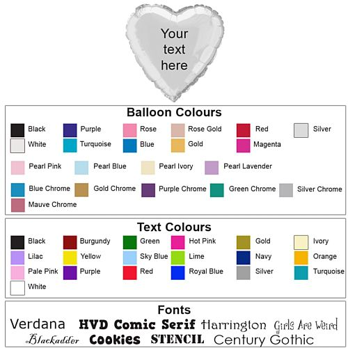 Heart Personalised Foil Balloons - Pack of 50