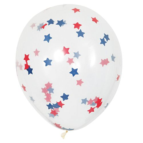 "Red, White and Blue Star-Shaped Confetti Latex Balloons - 16"" - Pack of 5"