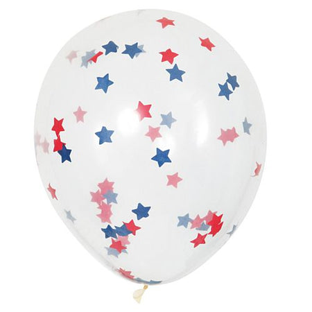 Red, White and Blue Star-Shaped Confetti Latex Balloons - 16