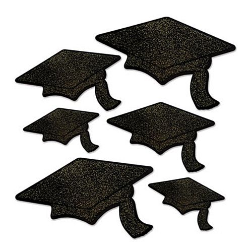 Glittered Card Graduation Cap Cutouts - Pack of 6