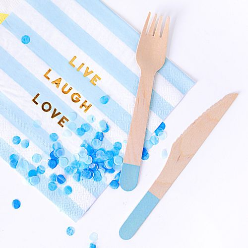 Pale Blue Handles Wooden Cutlery - 16cm - Pack of 18