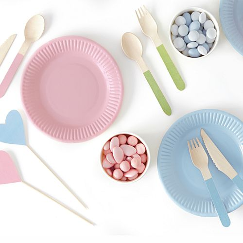 Pastel Colours Wooden Cutlery - 16cm - Pack of 18