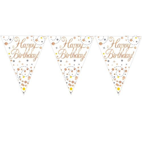 Rose Gold and White Happy Birthday Bunting - 3.9m