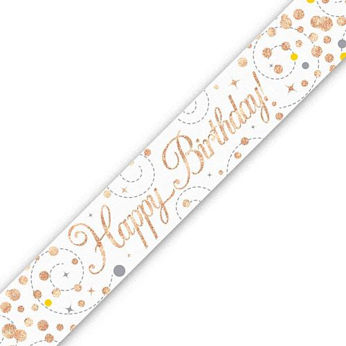 Rose Gold and White Happy Birthday Foil Banner - 2.7m