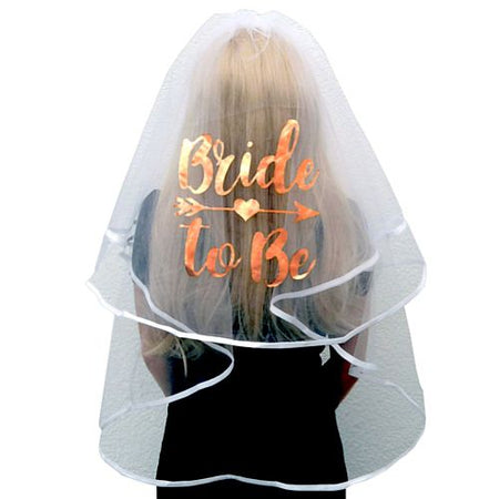 Rose Gold Bride to Be Printed Veil - 80cm
