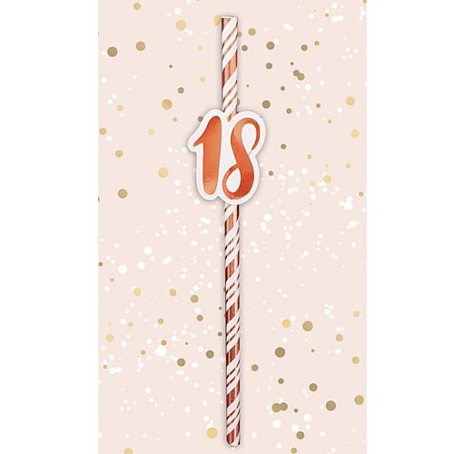 18th Birthday Rose Gold Straws - Pack of 6
