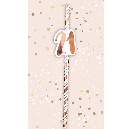 21st Birthday Rose Gold Straws - Pack of 6