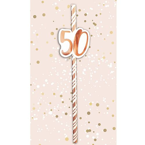 50th Birthday Rose Gold Straws - Pack of 6