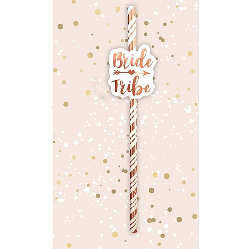 Rose Gold Bride Tribe Straws - Pack of 6