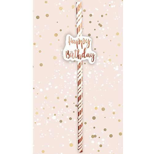 Happy Birthday Rose Gold Straws - Pack of 6