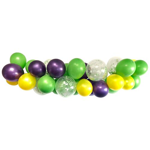 Purple, Green & Yellow Balloon Arch DIY Kit - 32 Balloons - 2.5m
