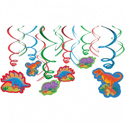 Prehistoric Party Dinosaur Swirl Decorations - Pack of 12