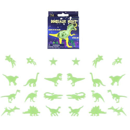 Glow in the Dark Dinosaur Stickers - Pack of 24 - 6.5 cm