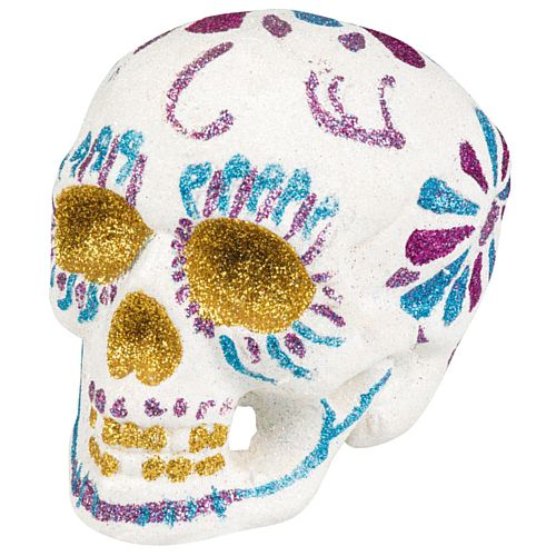 Day of the Dead Sugar Skull White Glitter Prop Decoration - 16cm