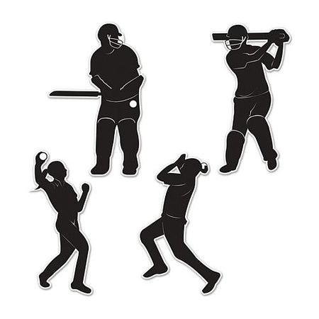 Cricket Player Silhouette Card Cutouts - 25cm - Pack of 4