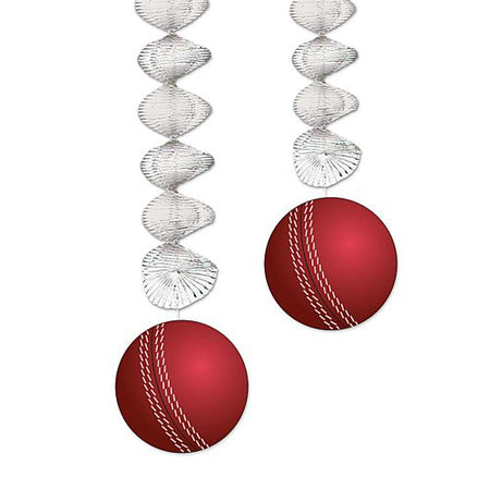 Cricket Ball Dangler Decorations - 76cm - Pack of 2