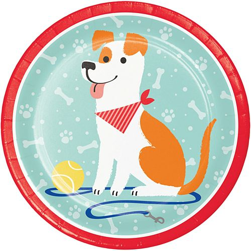Dog Party Dinner Plates - 23cm - Pack of 8