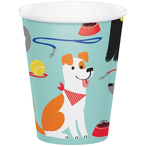 Dog Party Paper Cups - 256ml - Pack of 8