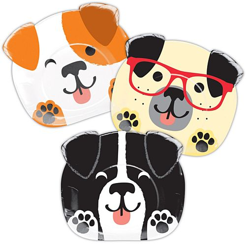 Dog Party Shaped Paper Plates - 20cm - Pack of 8