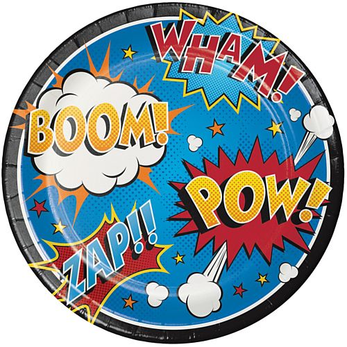 Superhero Slogans Paper Dinner Plates - Pack of 8 - 23cm