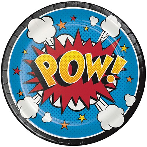 Superhero Slogans Paper Lunch Plates - 18cm - Pack 8