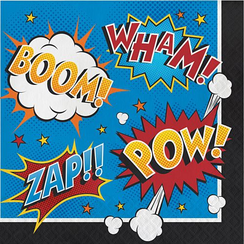 Superhero Slogans Lunch Napkins - 33cm - Pack of 16
