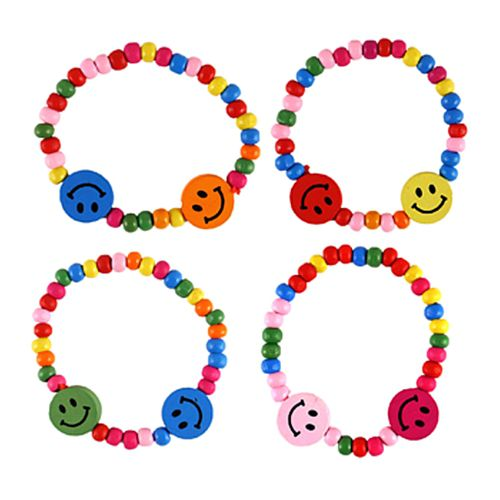 Smiley Faces Wooden Beaded Bracelet - Assorted Colours