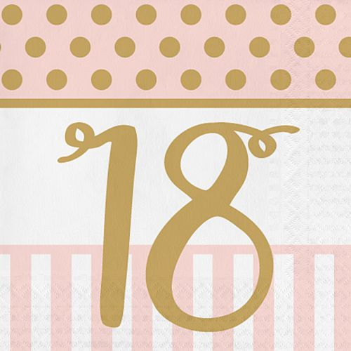 Pink Chic '18' Lunch Napkins - 33cm - Pack of 20