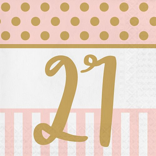 Pink Chic '21' Lunch Napkins - 33cm - Pack of 20