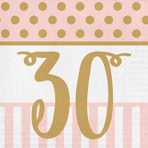 Pink Chic '30' Lunch Napkins - 33cm - Pack of 20