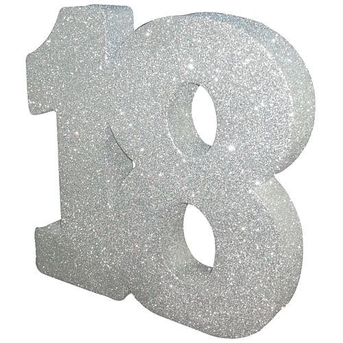 Silver Glitter Number 18 Table Decoration - 20cm