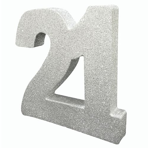 Silver Glitter Number 21 Table Decoration - 20cm