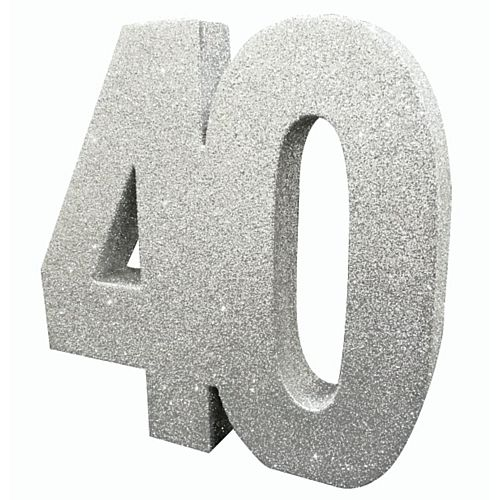 Silver Glitter Number 40 Table Decoration - 20cm