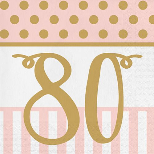 Pink Chic '80' Lunch Napkins - 33cm - Pack of 20