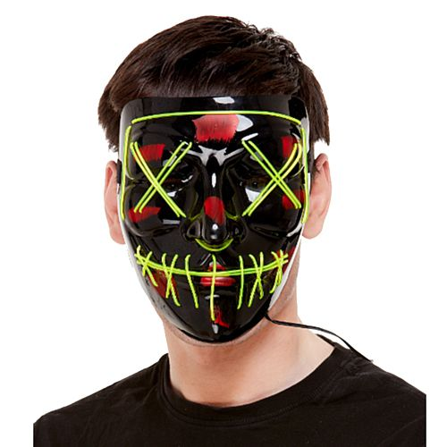 Black and Green Neon Light-up Mask