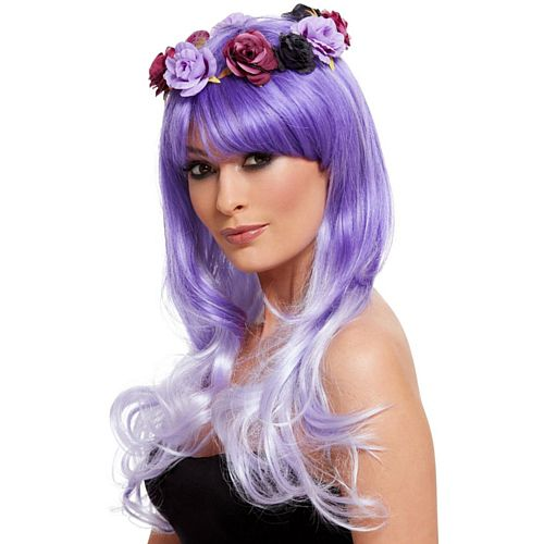Day of the Dead Glam Lilac Flower Crown Wig