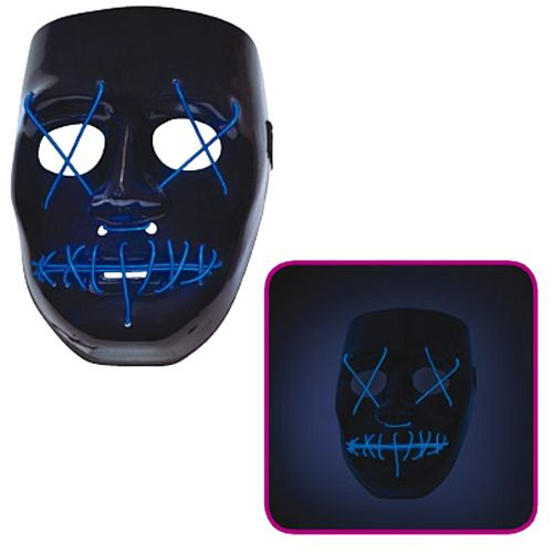 Black and Blue Neon Light-up Mask